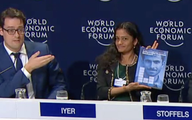 Jayashree K. Iyer and the Antimicrobial Resistance Benchmark Advance Copy during the World Economic Forum in Davos 2018